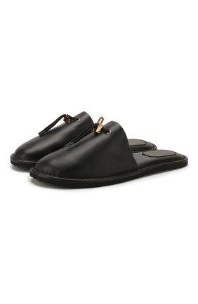 Мужского кожаные домашние туфли BUSCEMI черного цвета, арт. 319SMGRESL990S/M | Фото 1