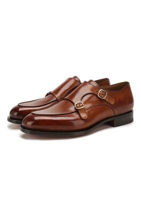 Мужские кожаные монки SANTONI светло-коричневого цвета, арт. MCC016036MC3HVVDM40 | Фото 1