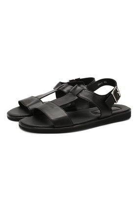 Мужские кожаные сандалии DOUCAL'S черного цвета, арт. DU2641ITACUF002NN00 | Фото 1