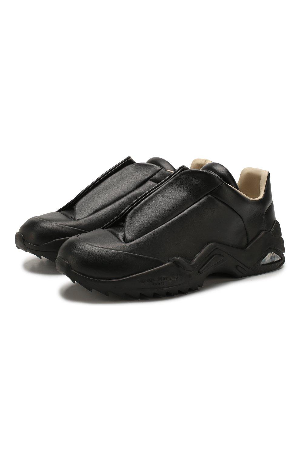 Мужские кожаные кроссовки MAISON MARGIELA черного цвета, арт. S37WS0493/P2589 | Фото 1 (Материал внутренний: Натуральная кожа; Подошва: Массивная)