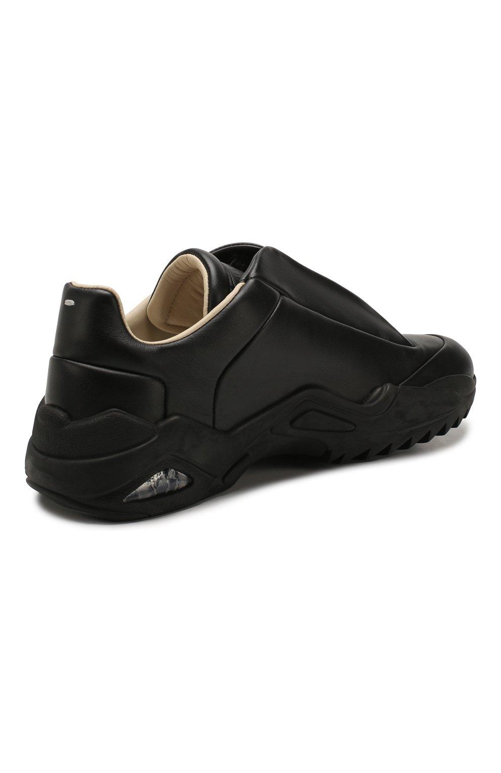 Мужские кожаные кроссовки MAISON MARGIELA черного цвета, арт. S37WS0493/P2589 | Фото 4 (Материал внутренний: Натуральная кожа; Подошва: Массивная)