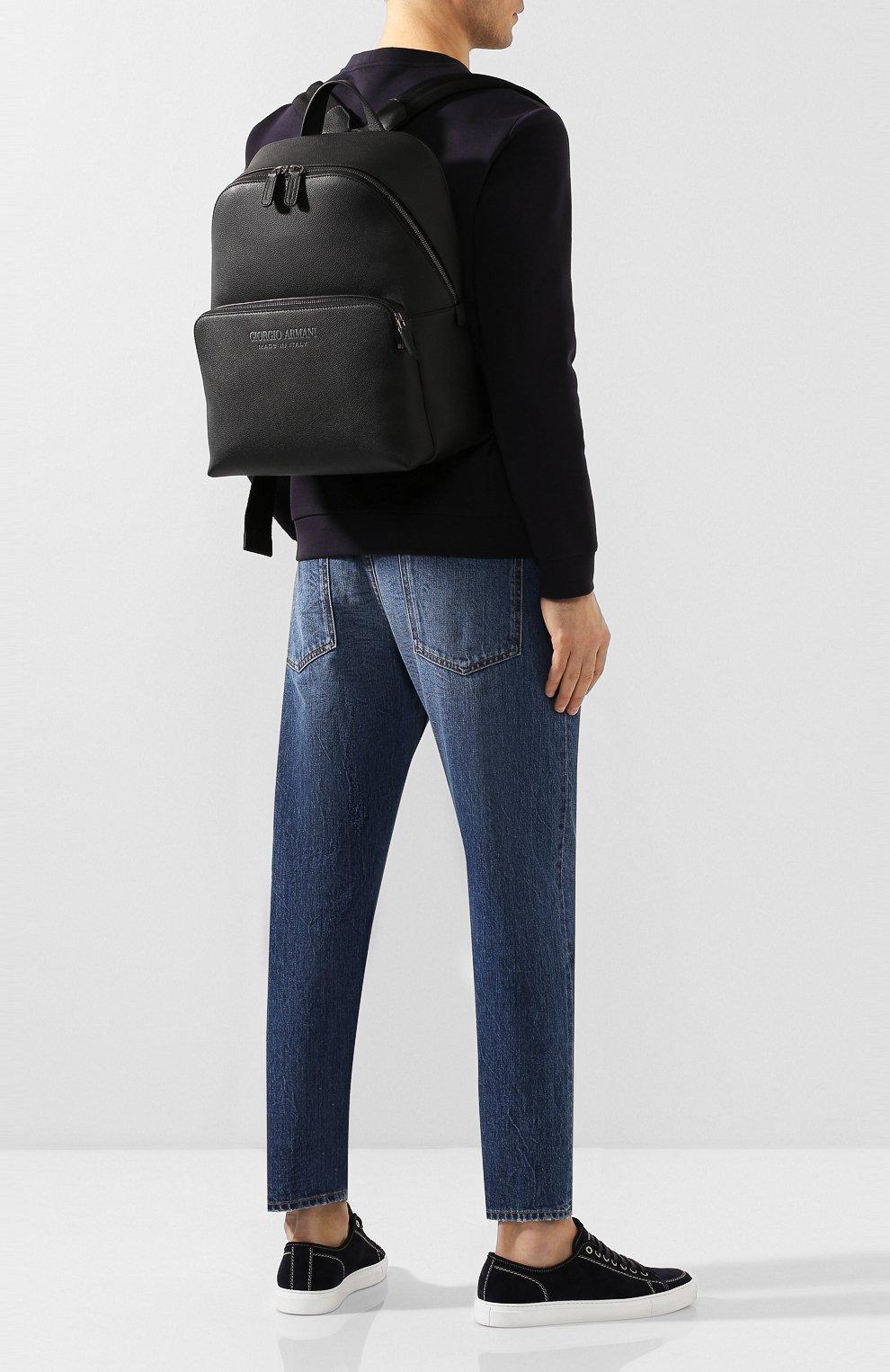 Мужской кожаный рюкзак GIORGIO ARMANI черного цвета, арт. Y20122/YTD0J | Фото 2