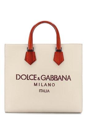 Мужская кожаная сумка-шопер design logo DOLCE & GABBANA белого цвета, арт. BM1810/AX308 | Фото 1