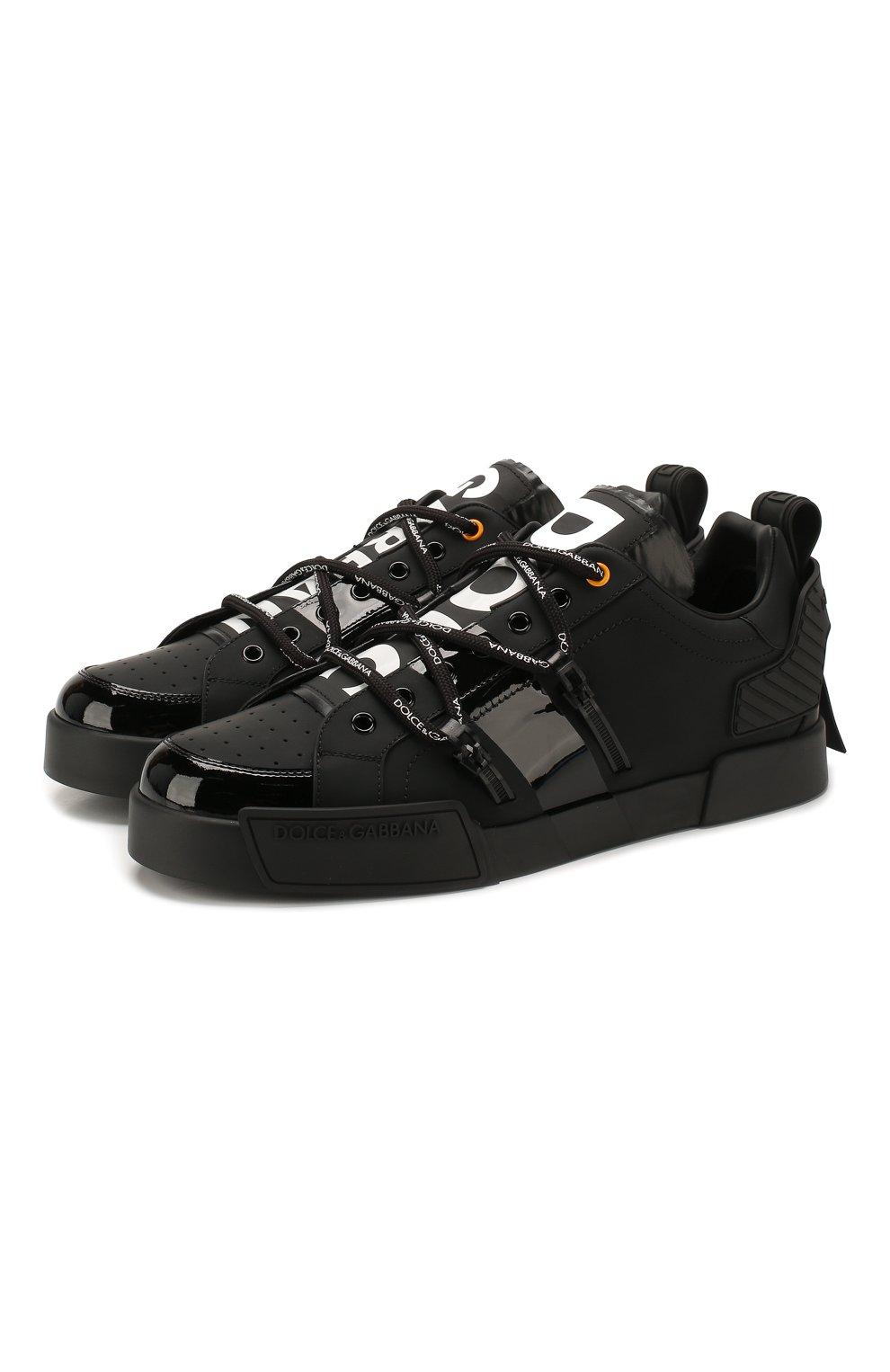 Мужские кожаные кеды portofino DOLCE & GABBANA черного цвета, арт. CS1783/AJ986   Фото 1 (Материал внутренний: Натуральная кожа; Подошва: Плоская)