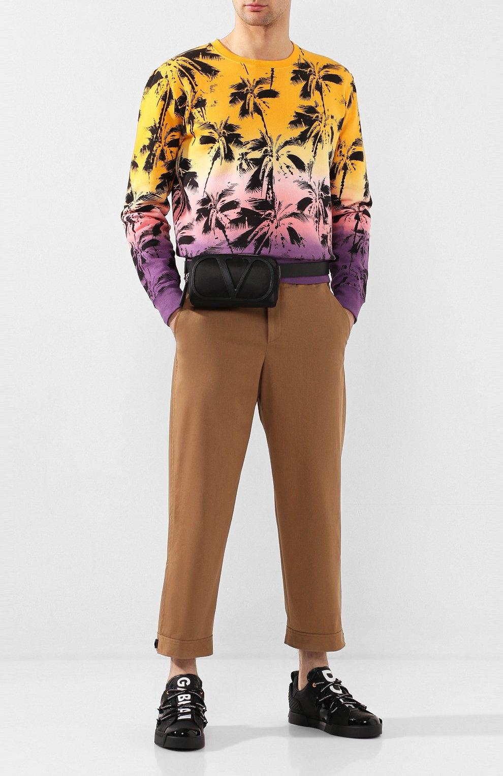 Мужские кожаные кеды portofino DOLCE & GABBANA черного цвета, арт. CS1783/AJ986   Фото 2 (Материал внутренний: Натуральная кожа; Подошва: Плоская)