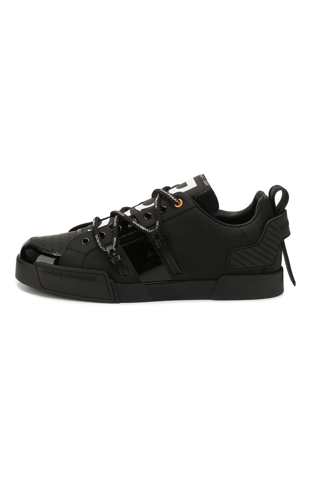 Мужские кожаные кеды portofino DOLCE & GABBANA черного цвета, арт. CS1783/AJ986   Фото 3 (Материал внутренний: Натуральная кожа; Подошва: Плоская)