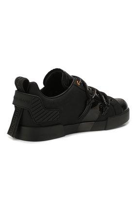 Мужские кожаные кеды portofino DOLCE & GABBANA черного цвета, арт. CS1783/AJ986   Фото 4 (Материал внутренний: Натуральная кожа; Подошва: Плоская)