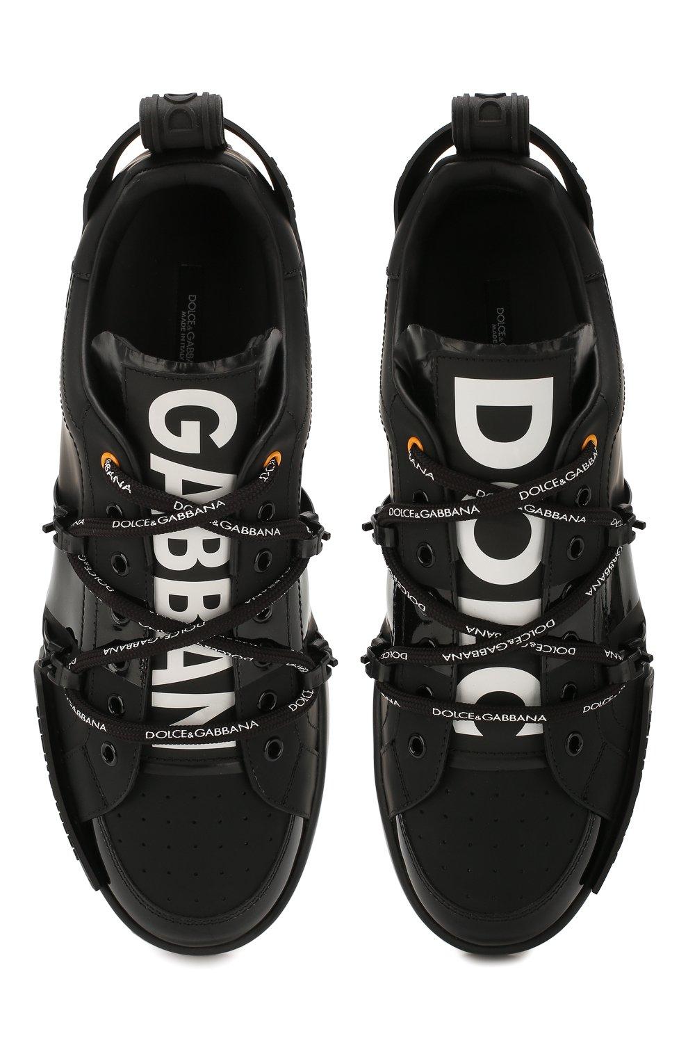 Мужские кожаные кеды portofino DOLCE & GABBANA черного цвета, арт. CS1783/AJ986   Фото 5 (Материал внутренний: Натуральная кожа; Подошва: Плоская)