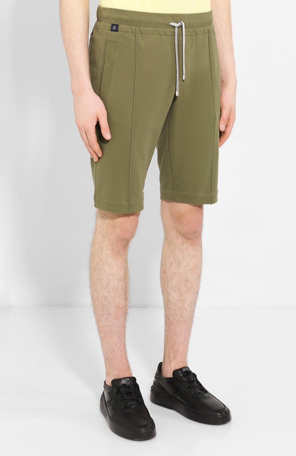 Мужские хлопковые шорты CAPOBIANCO зеленого цвета, арт. 8M737.FE01.   Фото 3