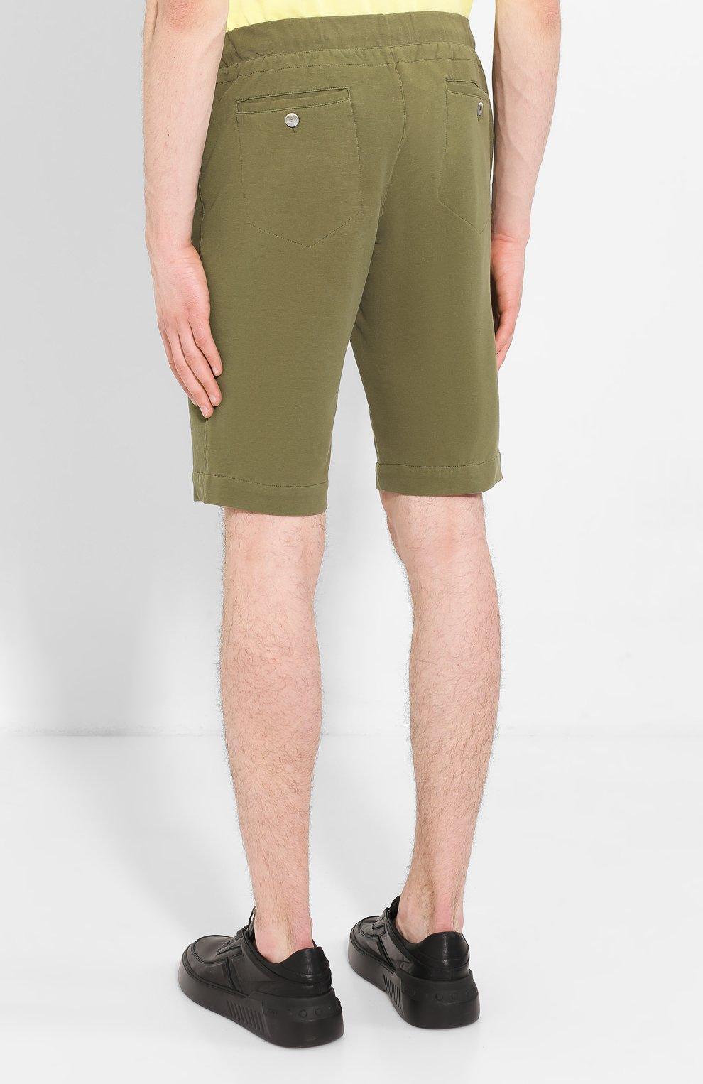 Мужские хлопковые шорты CAPOBIANCO зеленого цвета, арт. 8M737.FE01.   Фото 4