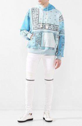 Мужской хлопковое худи AMIRI голубого цвета, арт. Y0M02369TE | Фото 2