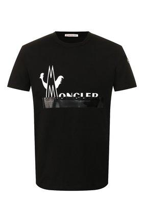 Мужская хлопковая футболка MONCLER черного цвета, арт. F1-091-8C709-10-8390T   Фото 1