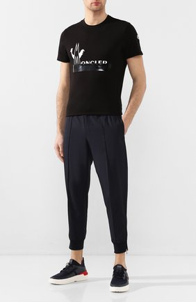 Мужская хлопковая футболка MONCLER черного цвета, арт. F1-091-8C709-10-8390T   Фото 2