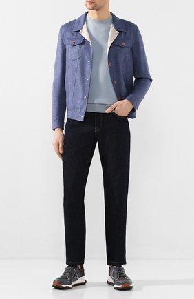 Мужская куртка из смеси кашемира и шелка KITON голубого цвета, арт. UW0708MV07S69   Фото 2