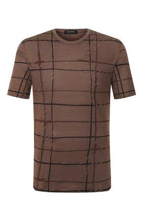 Мужская льняная футболка ERMENEGILDO ZEGNA коричневого цвета, арт. UU564/706PR | Фото 1 (Мужское Кросс-КТ: Футболка-одежда; Рукава: Короткие; Материал внешний: Лен; Длина (для топов): Стандартные; Стили: Кэжуэл)