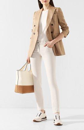 Женские джинсы BRUNELLO CUCINELLI кремвого цвета, арт. MH137P5495 | Фото 2