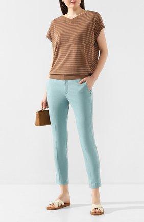 Женские брюки BRUNELLO CUCINELLI бирюзового цвета, арт. MA080P5398 | Фото 2