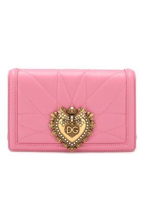 Женская сумка devotion small DOLCE & GABBANA розового цвета, арт. BB6652/AV967   Фото 1 (Сумки-технические: Сумки через плечо; Материал: Натуральная кожа; Размер: small; Ремень/цепочка: На ремешке; Женское Кросс-КТ: Вечерняя сумка)