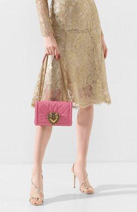 Женская сумка devotion small DOLCE & GABBANA розового цвета, арт. BB6652/AV967   Фото 2 (Сумки-технические: Сумки через плечо; Материал: Натуральная кожа; Размер: small; Ремень/цепочка: На ремешке; Женское Кросс-КТ: Вечерняя сумка)