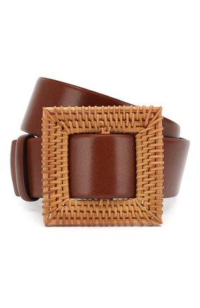 Женский кожаный пояс OSCAR DE LA RENTA коричневого цвета, арт. 20SA107 | Фото 1