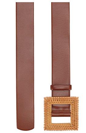 Женский кожаный пояс OSCAR DE LA RENTA коричневого цвета, арт. 20SA107 | Фото 2