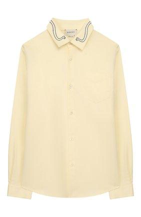 Детская хлопковая рубашка GUCCI желтого цвета, арт. 591409/XWAGH | Фото 1
