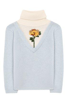 Детский шерстяной свитер GUCCI голубого цвета, арт. 592530/XKA5I | Фото 1