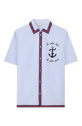Детская хлопковая рубашка GUCCI голубого цвета, арт. 600371/XWAH0 | Фото 1