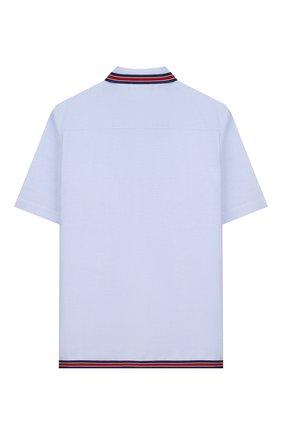 Детская хлопковая рубашка GUCCI голубого цвета, арт. 600371/XWAH0 | Фото 2