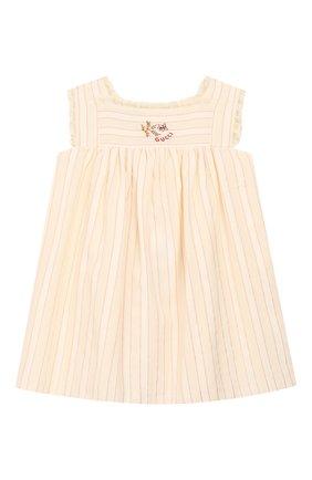 Женский хлопковое платье GUCCI белого цвета, арт. 604649/ZADXF | Фото 1
