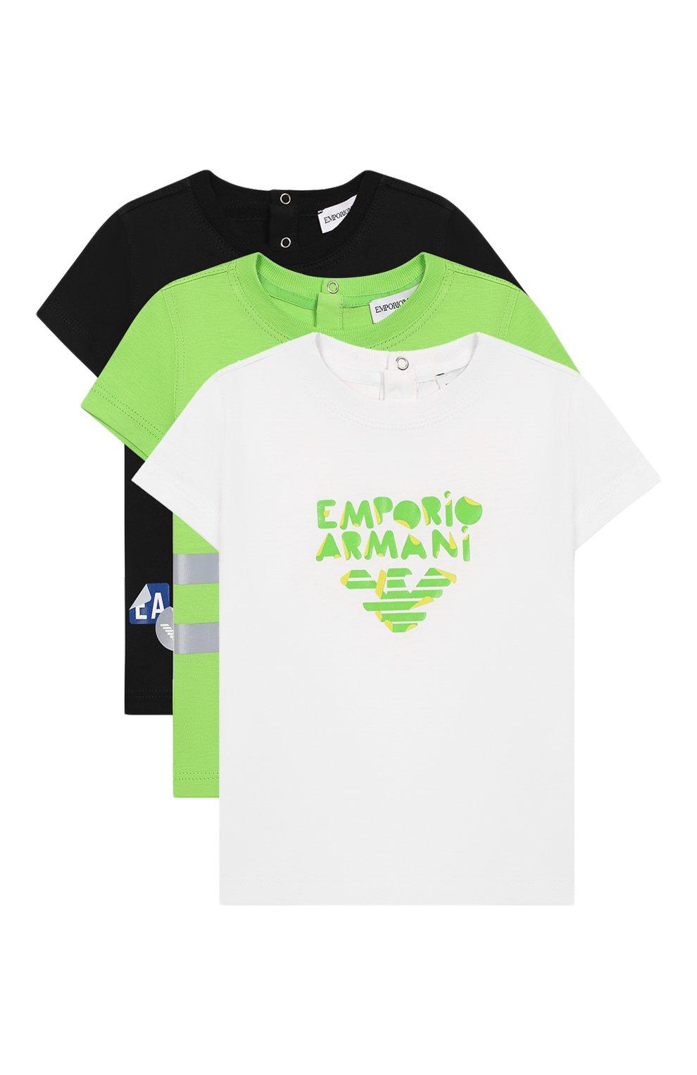 Детский комплект из трех футболок EMPORIO ARMANI разноцветного цвета, арт. 3HHD01/4J09Z   Фото 1