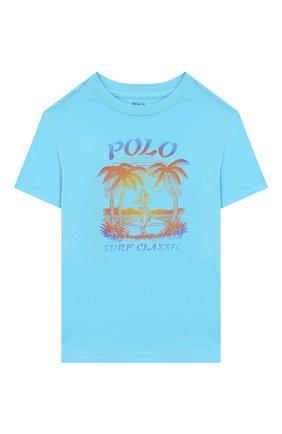 Детская хлопковая футболка POLO RALPH LAUREN голубого цвета, арт. 322786269 | Фото 1