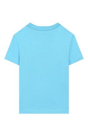 Детская хлопковая футболка POLO RALPH LAUREN голубого цвета, арт. 322786269 | Фото 2