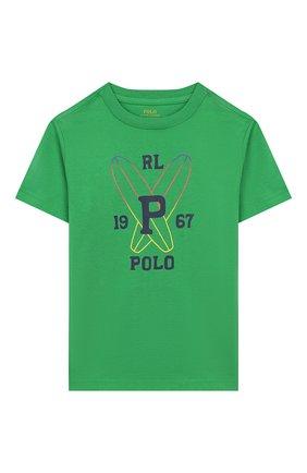Детская хлопковая футболка POLO RALPH LAUREN зеленого цвета, арт. 321786269 | Фото 1
