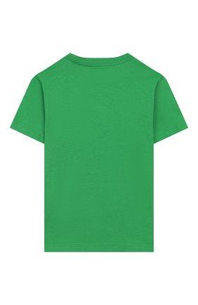 Детская хлопковая футболка POLO RALPH LAUREN зеленого цвета, арт. 321786269 | Фото 2