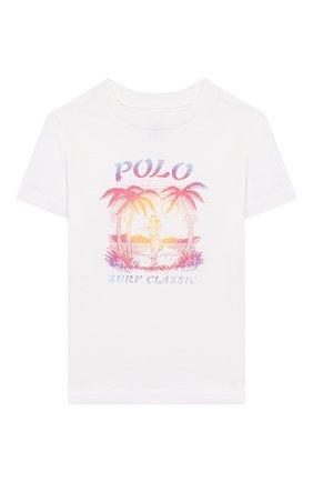 Детская хлопковая футболка POLO RALPH LAUREN белого цвета, арт. 321786269 | Фото 1