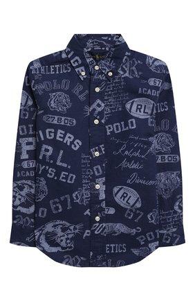 Детская хлопковая рубашка RALPH LAUREN синего цвета, арт. 321785805 | Фото 1 (Рукава: Длинные; Материал внешний: Хлопок; Случай: Повседневный; Ростовка одежда: 18 мес | 86 см, 4 года | 104 см)