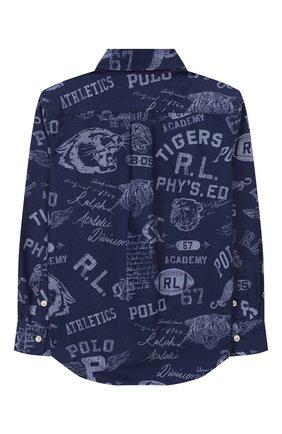 Детская хлопковая рубашка RALPH LAUREN синего цвета, арт. 321785805 | Фото 2 (Рукава: Длинные; Материал внешний: Хлопок; Случай: Повседневный; Ростовка одежда: 18 мес | 86 см, 4 года | 104 см)