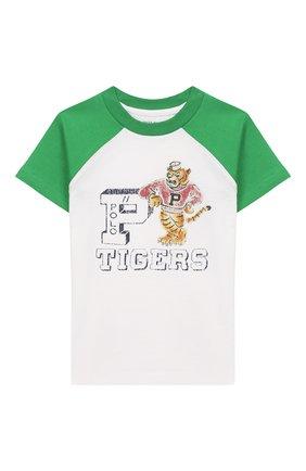 Детская хлопковая футболка POLO RALPH LAUREN белого цвета, арт. 321786323 | Фото 1
