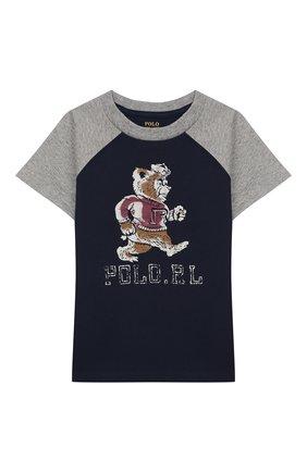 Детская хлопковая футболка POLO RALPH LAUREN синего цвета, арт. 322786323 | Фото 1