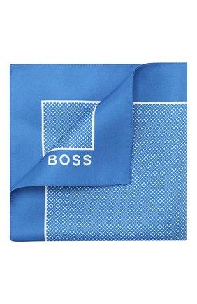 Мужской шелковый платок BOSS синего цвета, арт. 50429140 | Фото 1