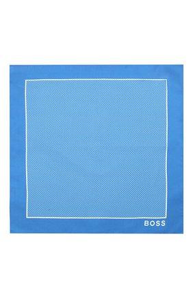 Мужской шелковый платок BOSS синего цвета, арт. 50429140 | Фото 3