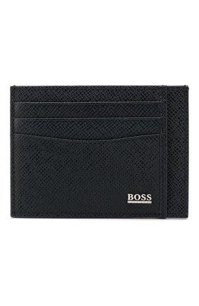 Мужской кожаный футляр для кредитных карт BOSS темно-синего цвета, арт. 50430656 | Фото 1