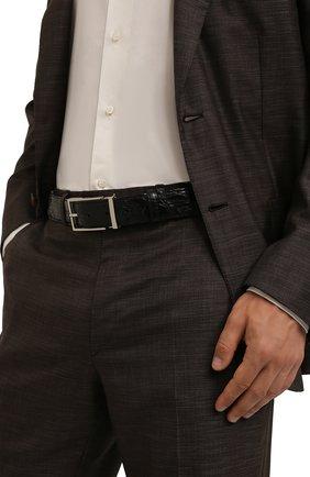Мужской ремень из кожи каймана DOUCAL'S черного цвета, арт. DC0001I0TAUF0359N00/CYAC | Фото 2