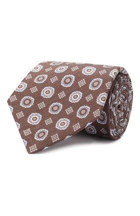 Мужской галстук из смеси шелка и льна LUIGI BORRELLI коричневого цвета, арт. LC80-B/TT9053 | Фото 1