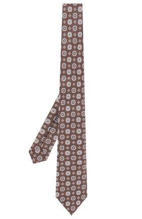Мужской галстук из смеси шелка и льна LUIGI BORRELLI коричневого цвета, арт. LC80-B/TT9053 | Фото 2