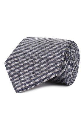 Мужской шелковый галстук LUIGI BORRELLI темно-синего цвета, арт. LC80-B/TT9134 | Фото 1
