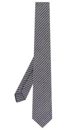 Мужской шелковый галстук LUIGI BORRELLI темно-синего цвета, арт. LC80-B/TT9134 | Фото 2