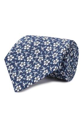 Мужской шелковый галстук LUIGI BORRELLI синего цвета, арт. LC80-B/TT9227 | Фото 1 (Стили: Классический; Принт: С принтом; Материал: Текстиль)