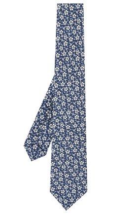 Мужской шелковый галстук LUIGI BORRELLI синего цвета, арт. LC80-B/TT9227 | Фото 2 (Стили: Классический; Принт: С принтом; Материал: Текстиль)